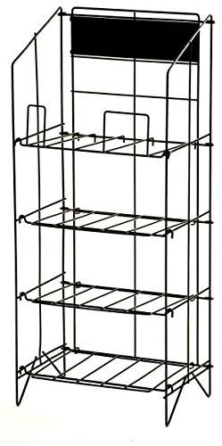 Displays2go Wire Newspaper Stand with 4 Shelves, Free-Standi