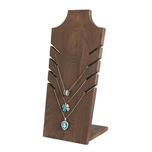 MyGift Set of 2 Natural Wood Necklace Bust Brown - to