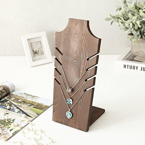 MyGift Set of 2 Natural Wood Bust Display Brown - to 5