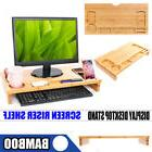 Wooden Desktop Monitor Stand Laptop Display Screen Riser She
