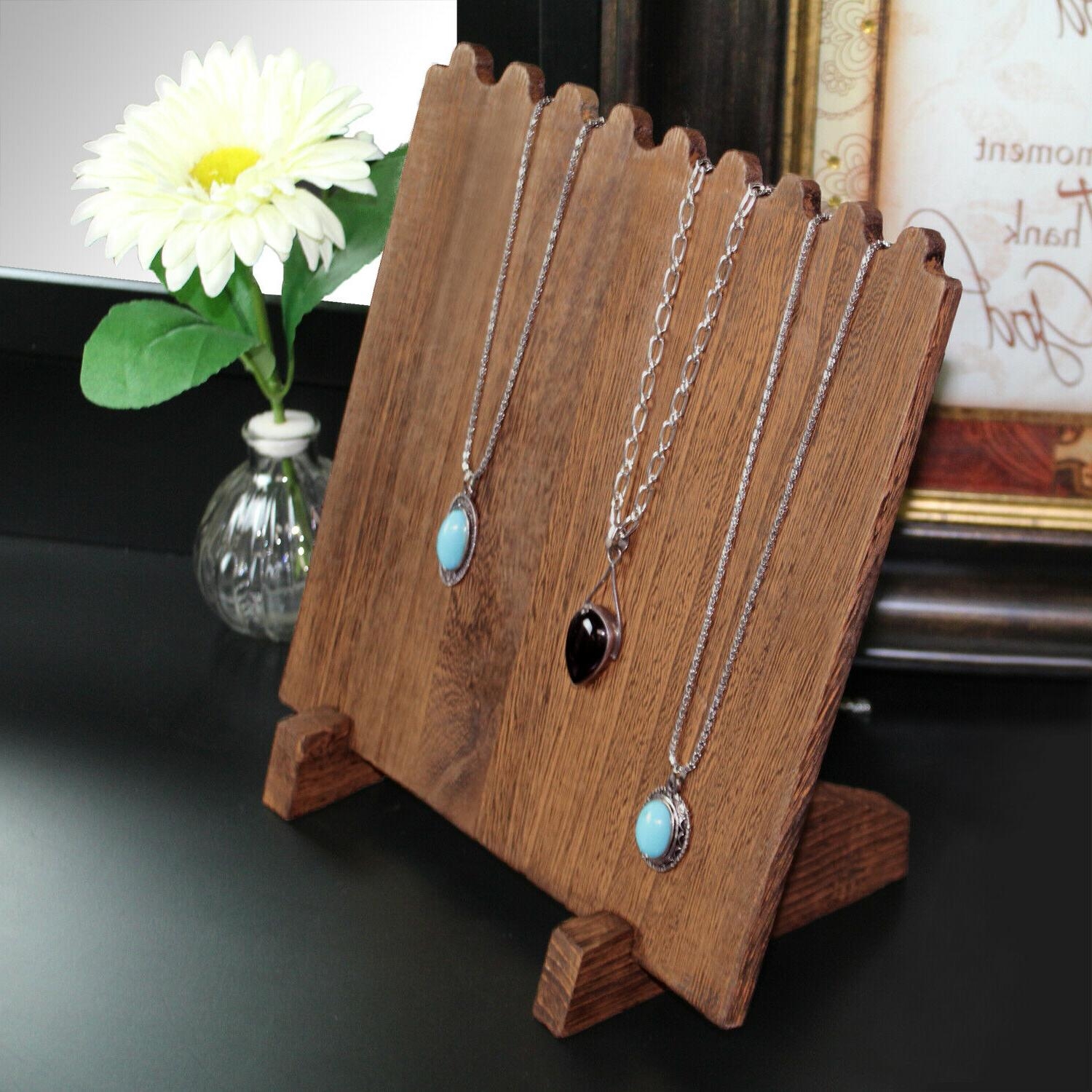 Wooden Plank Display Stand Necklaces, Brown
