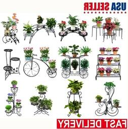 Metal Flower Pot Rack Plant Display Stand Shelf Wrought Iron