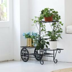 UNHO Metal Wrought Iron Plant Stands Rack Shelves Flowers Di