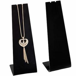 MyGift Modern Black Acrylic Necklace Display Stand, Set of 2