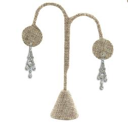 "MODERN BURLAP EARRING DISPLAY STAND EARRING TREE 4 3/4""H EAR"