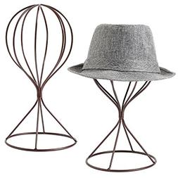 MyGift Modern Metal Hat Stands, Tabletop Decorative Wig Hold