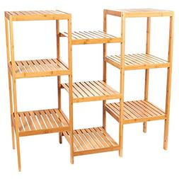 Juvale Multifunctional Bamboo Shelf - Plant Stand - 9-Tier S
