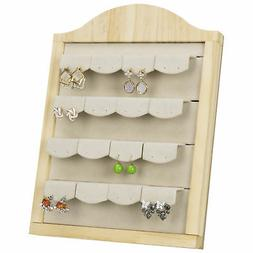 MyGift Natural Wood 16-Pair Earring Display Stand with Remov