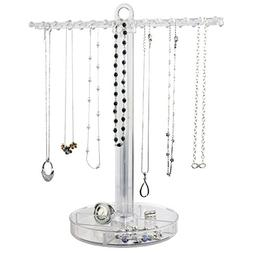 Necklace Holder with Jewelry Tray | Clear
