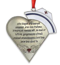 Nurse Heart Shaped Ornament with Message - Engraved Silver M
