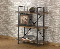 O&K Furniture 3 Tier Vintage Bookshelf, Industrial Style Boo