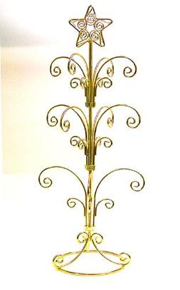 Ornament Display Stand Holds 12-24 Ornaments - Bright Gold F