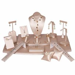 Pink Leatherette Jewelry Display Stands Holder Bracelet Earr