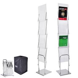 Yescom Portable Pop Up 4 Clear Pocket Magazine Brochure Lite