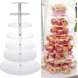 Oanon Round Crystal Clear Acrylic Cupcake Stand Wedding Disp