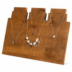 MyGift Rustic Brown Wooden Multi-Tiered Necklace Display Sta