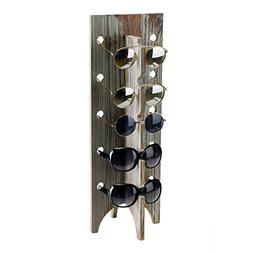 MyGift Rustic Torched Wood Retail Sunglasses Display Stand,