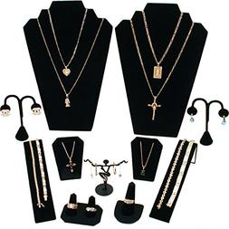 FindingKing 11 Pc Set Black Velvet Jewelry Displays Busts Bo