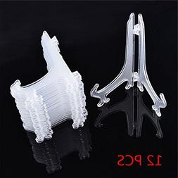 Xiaolanwelc@ 12Pcs/Set Clear Plastic Easels Plate Holders Di