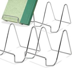 Silver Wire Easel Display Stand - Smooth Chrome Metal - 4 In