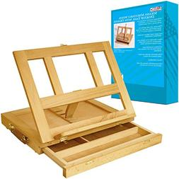 U.S. Art Supply Solana Adjustable Wood Desk Table Easel with