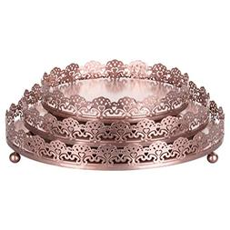 Sophia 3-Piece Rose Gold Decorative Tray Set, Round Metal Or