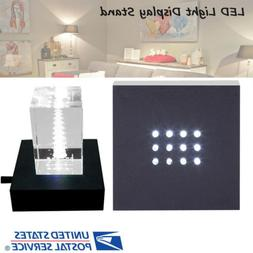 Square 12 LED Light Figurine Crystal Display Stand Base Hold