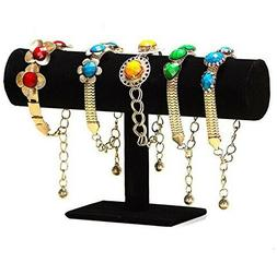 T-bar Jewelry Bracelet and Watch Display Stand, Black Velvet
