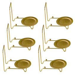 Tea Cup and Saucer Display Stand Easels Brass 6pc Etched Bas
