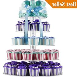 5 Tiers Round Acrylic Cupcakes Stands Holders, Clear Wedding