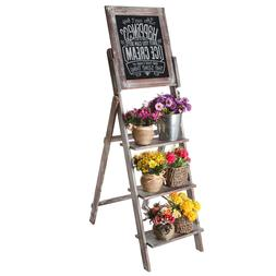 MyGift Torched Wood Easel Style Chalkboard Stand with 3 Tier
