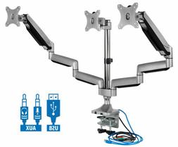 Mount-It! Triple Monitor Mount with USB Port, Height Adjusta