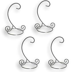 BANBERRY DESIGNS Twisted Silver Ornament Stand - Set of 4 Or