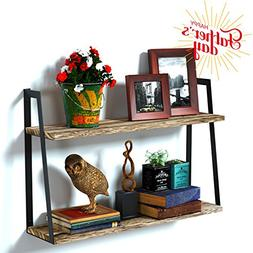 RooLee 2-Tier Floating Wall Mount Shelves Book Shelves Rusti