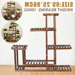 US 5 Tier Pots Wooden Plant Flower Display Stand Wood Shelf