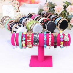 Velvet Women T-Bar Jewelry Rack Bracelet Necklace Stand Orga