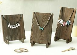 Vintage Style Dark Brown Wood Plank Retail Boutique Necklace