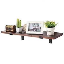 MyGift 24 Inch Wall Mounted Wood Floating Shelf with Black M