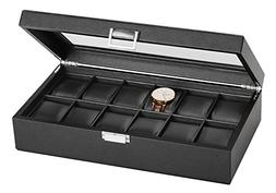 SWEETV Large Watch Case for Men - 12 Watches Slots, Faux Lea