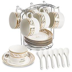 ROSE CREATE 6 pcs 5 Oz White Porcelain Coffee Cups and Sauce