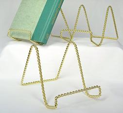 Wire Easel Display Stand - Twisted Brass Metal - 4 Inch - Pa