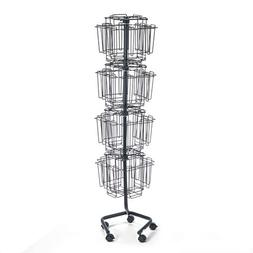 Wire Rotary Display Racks, 32 Compartments, 15w x 15d x 60h,