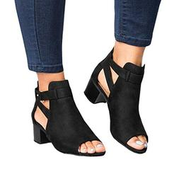 Women Low Heel Sandals Open Toe Ankle Strap Cutout Wedge San