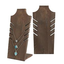 MyGift Set of 2 Natural Wood Multiple Necklace Bust Display