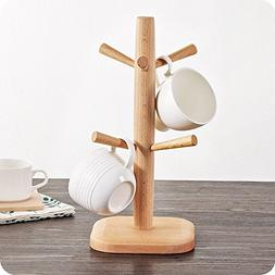 Party Bar. Wooden Cup / Mug Rack, 6 Hooks Coffee/Water Cups