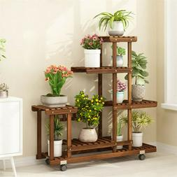 Wooden Flower Stands Plant Display Wood Pot Shelf Storage Ra