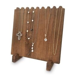 wooden plank necklace jewelry display stand