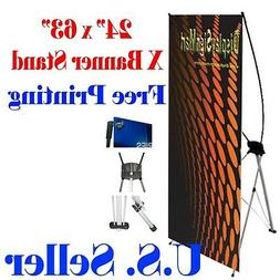 """X Banner Stand 24"""" x 63"""" Free Graphic Print Trade Show Displ"""